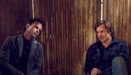 Walton Goggins as Boyd Crowder, Timothy Olyphant as Deputy U.S. Marshal Raylen Givens.