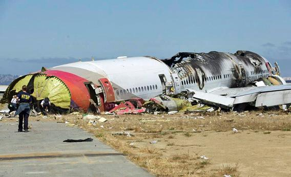 U.S. National Transportation Safety Board photo shows the wreckage of Asiana Airlines Flight 214 that crashed at San Francisco International Airport in San Francisco, California in this handout released on July 7, 2013.