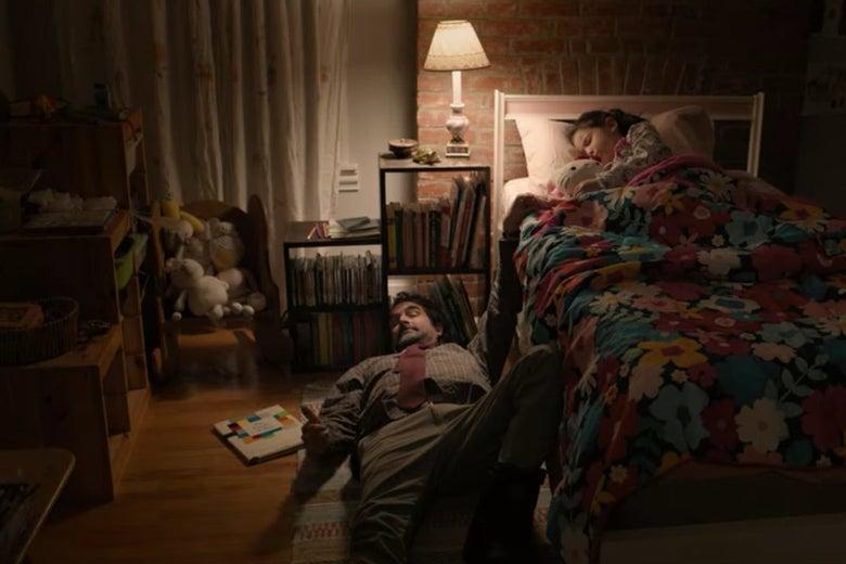Bill asleep on the floor and Ju Ju asleep in bed in her bedroom.