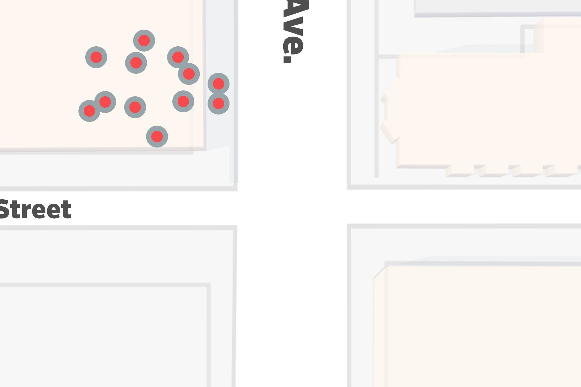 An image of a mocked-up Google Map with a bunch of dots piled on top of/next to each other.