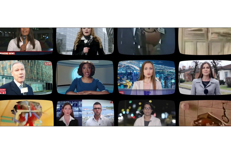 A wall of televisions from the Saturday Night Live Kool-Aid Man sketch, showing the same news anchors as the Gillette ad.