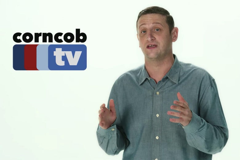 A man against a white background with a logo for Corncob TV.