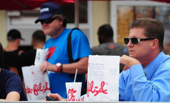 Chick-Fil-A's CEO sparked protests by speaking out against gay marriage last year.
