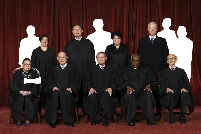 Supreme Court photo of sitting justices including Justice Anthony Kennedy, and four more cutouts.