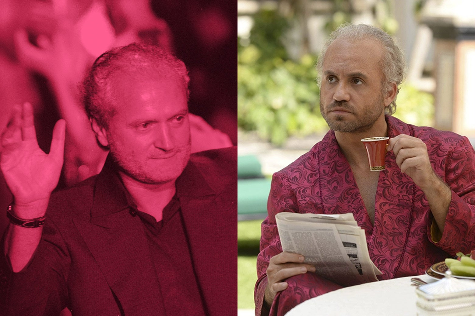 Gianni Versace and Edgar Ramirez playing Versace in The Assassination of Gianni Versace.