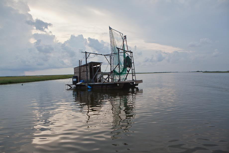 Fishing stand in the marsh between Isle de Jean Charles and Pointe-aux-Chien.