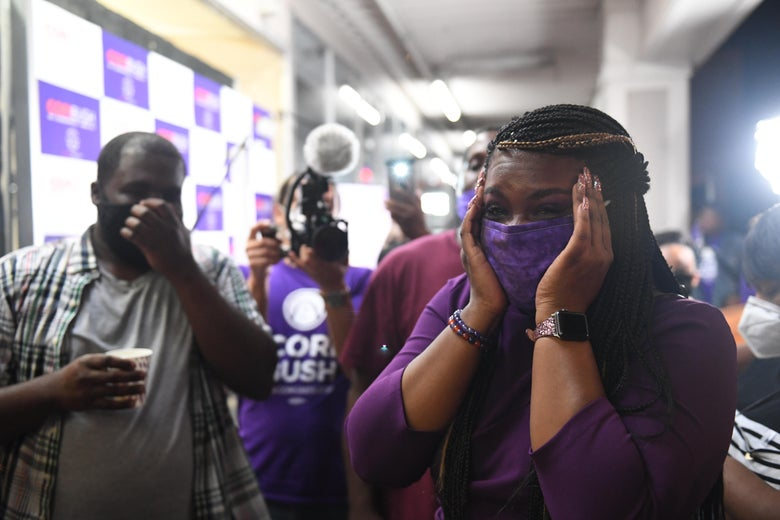 Missouri Democratic congressional candidate Cori Bush celebrates at her campaign office.