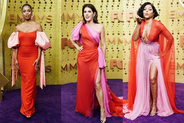 Susan Kelechi Watson, Marisa Tomei, Taraji P. Henson on the Emmys purple carpet.