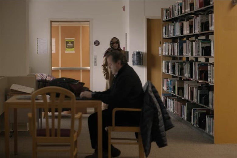Joan going undercover in the library.
