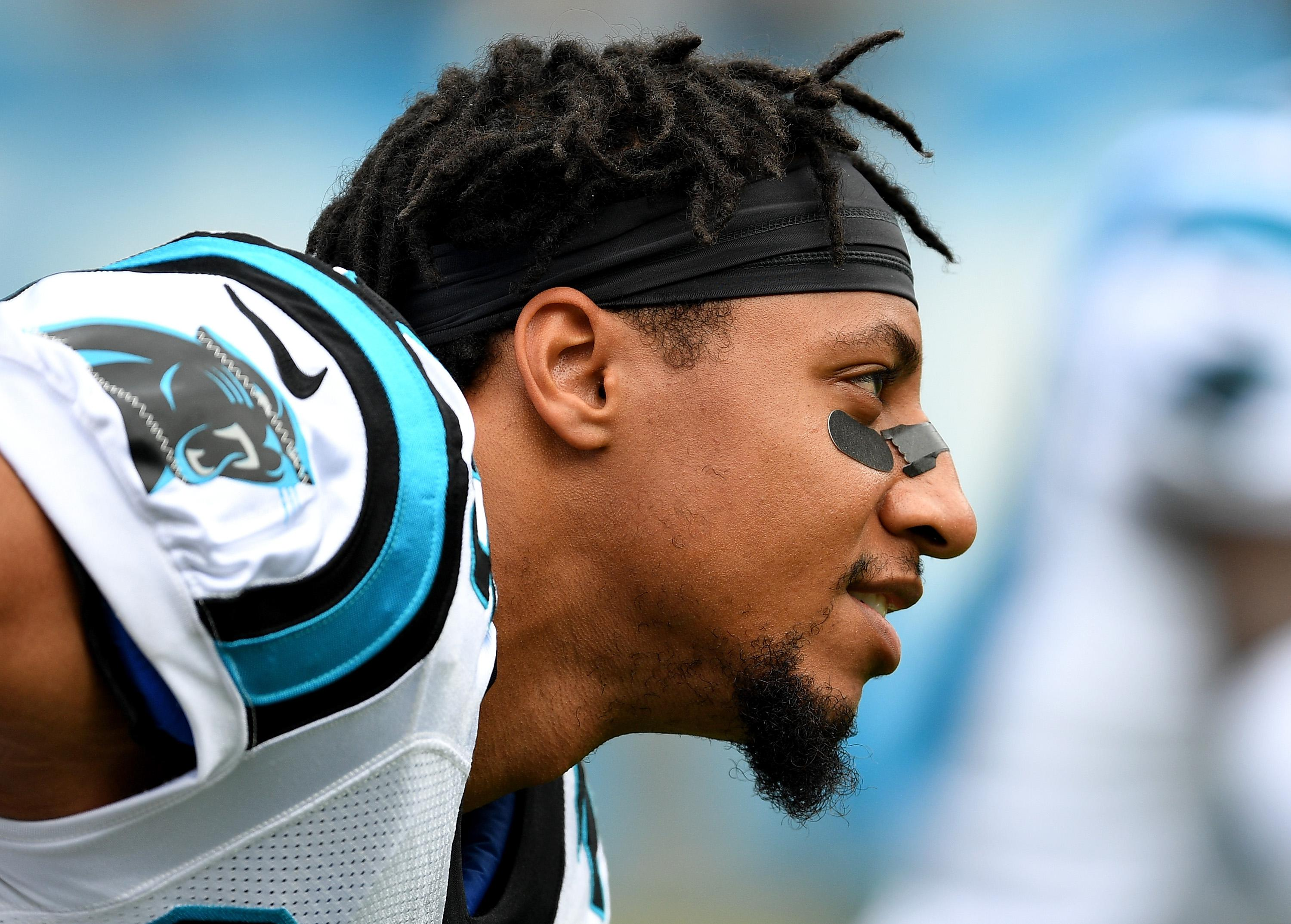 CHARLOTTE, NC - OCTOBER 07:  Eric Reed #25 of the Carolina Panthers warms up during their game against the New York Giants at Bank of America Stadium on October 7, 2018 in Charlotte, North Carolina.  (Photo by Grant Halverson/Getty Images)