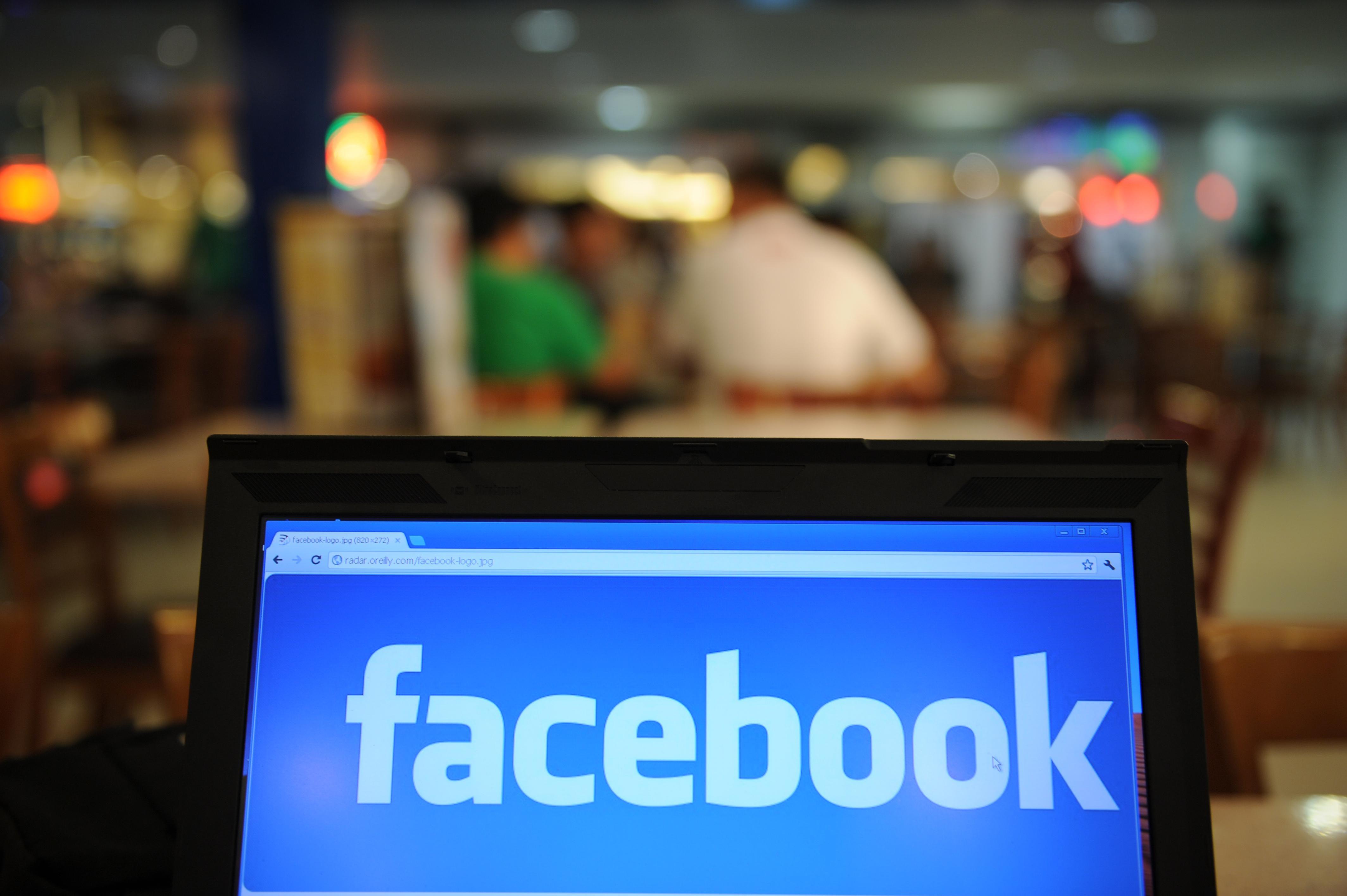 A screen with the Facebook logo open