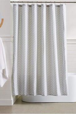 AmazonBasics Grey Herringbone Shower Curtain