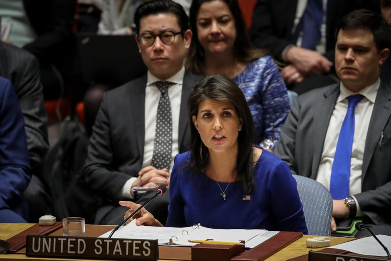 United States Ambassador to the United Nations Nikki Haley speaks during a United Nations Security Council meeting concerning the situation in Syria, at United Nations headquarters, April 14, 2018 in New York City.