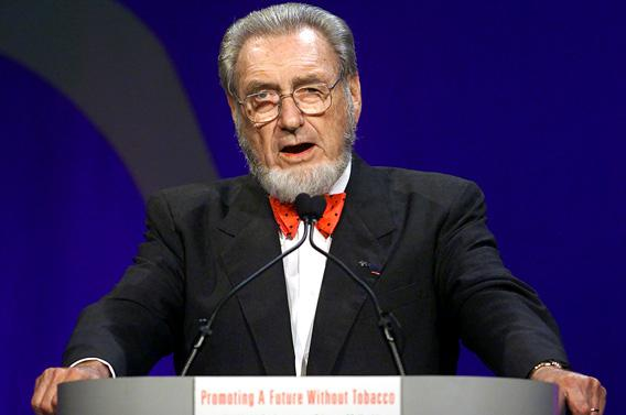 C. Everett Koop, former surgeon general of the United States speaks at the closing ceremonies of the World Conference on Tobacco or Health in Chicago, August 11, 2000.