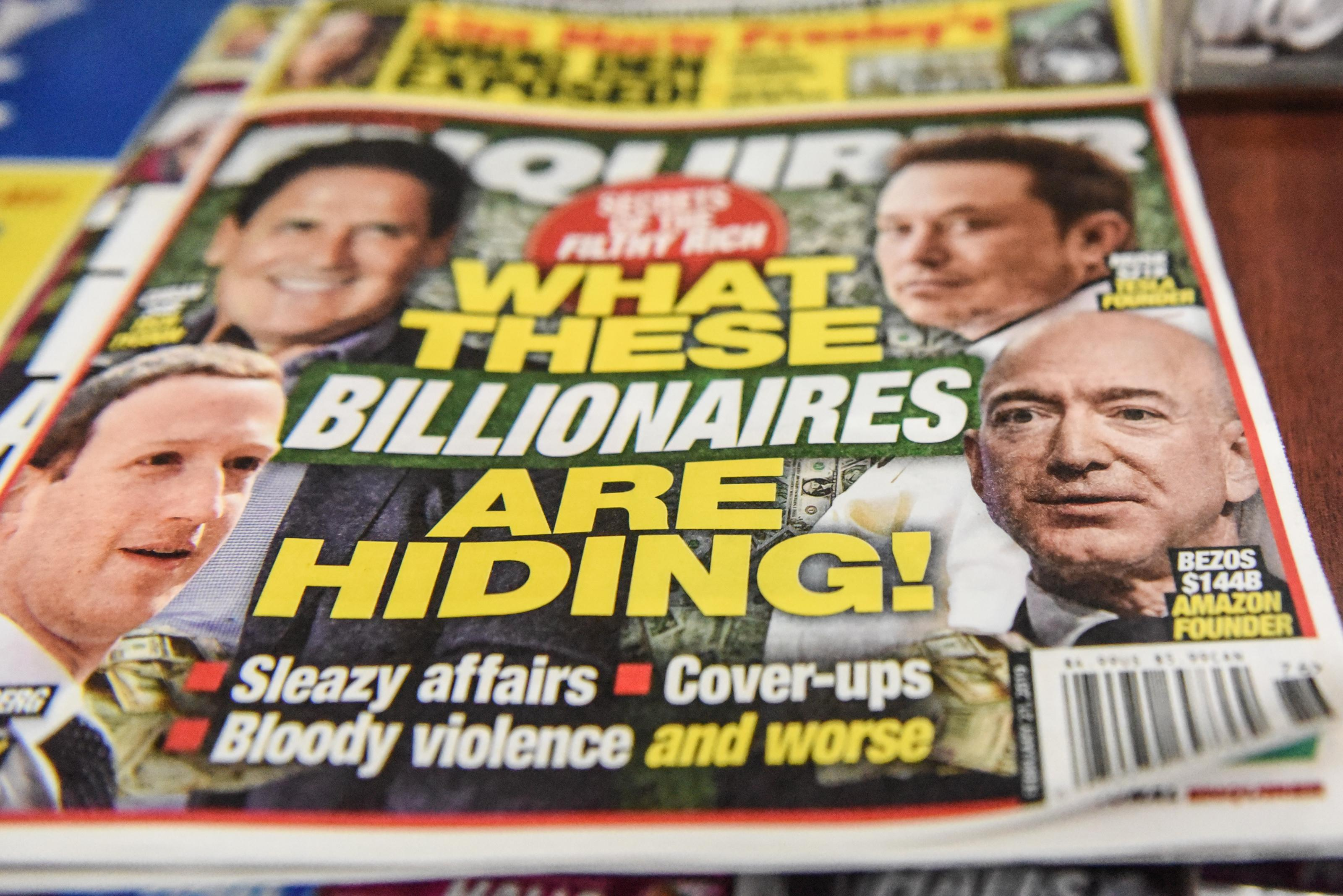 National Enquirer cover showing Jeff Bezos, other billionaires.