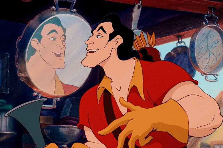 Still from the animated film of Gaston admiring his reflection in a shiny metal pan