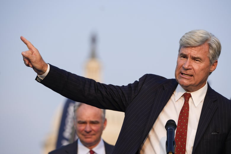 Sen. Sheldon Whitehouse speaks during a rally about climate change issues near the U.S. Capitol on September 13, 2021 in Washington, DC.