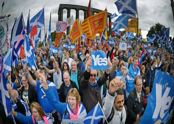 Thousands of pro-independence campaigners attend a rally on Calton Hill on Sept. 21,2013, in Edinburgh, Scotland.