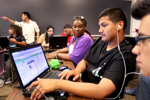 Computer science students at Northeastern University, Palo Alto, California.
