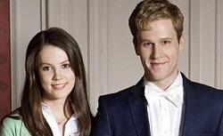 "Dan Amboyer and Alice St Clair play Prince William and Kate Middleton in ""William & Catherine: A Royal Romance""."