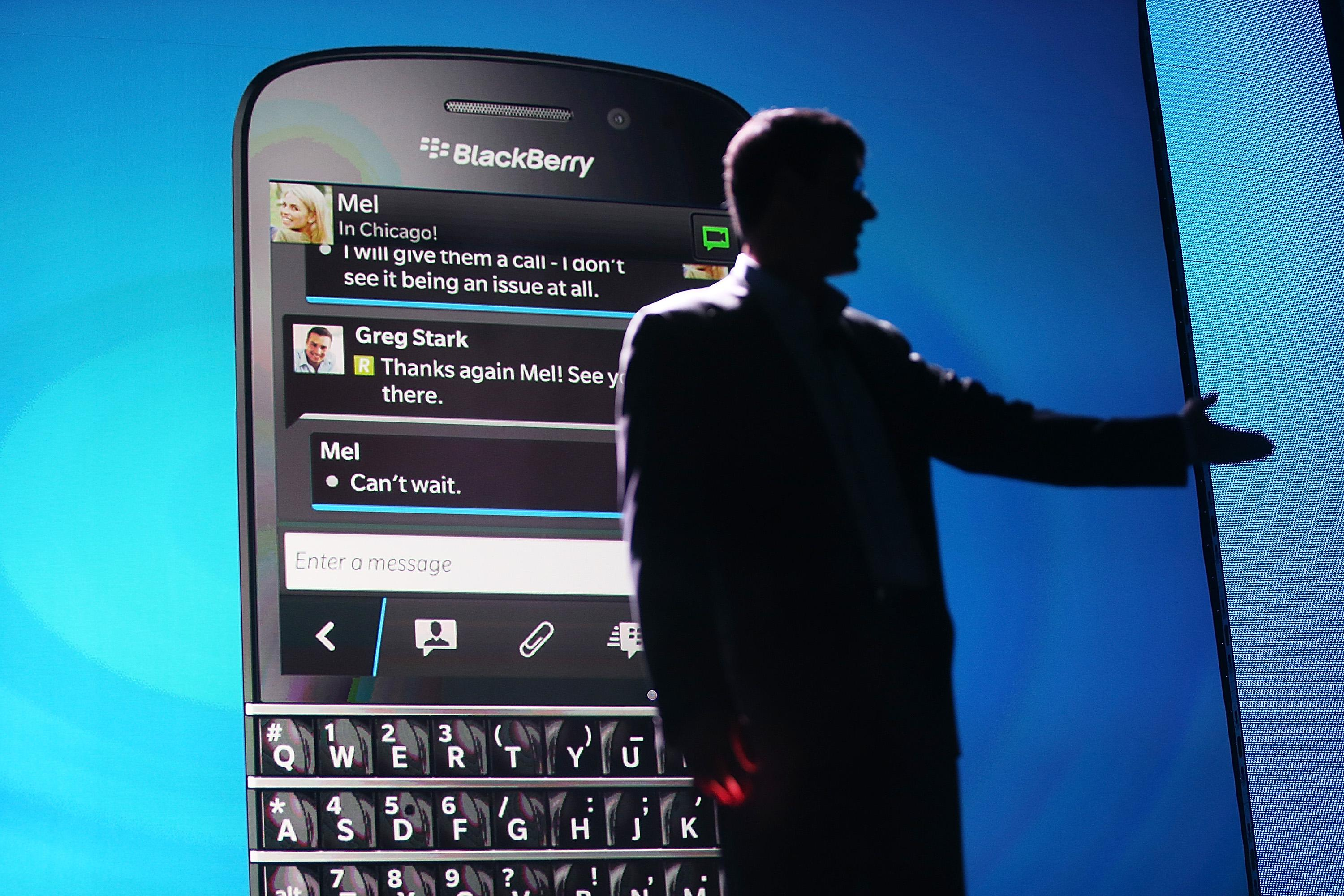 BlackBerry Chief Executive Officer Thorsten Heins speaks in front of a display of one of the new Blackberry 10 smartphones at the BlackBerry 10 launch event by Research in Motion on Jan. 30 in New York City.