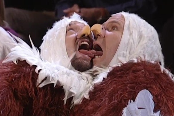 Tom Green and Will Ferrell, both dressed as bald eagles, lick each others' tongues. Really!