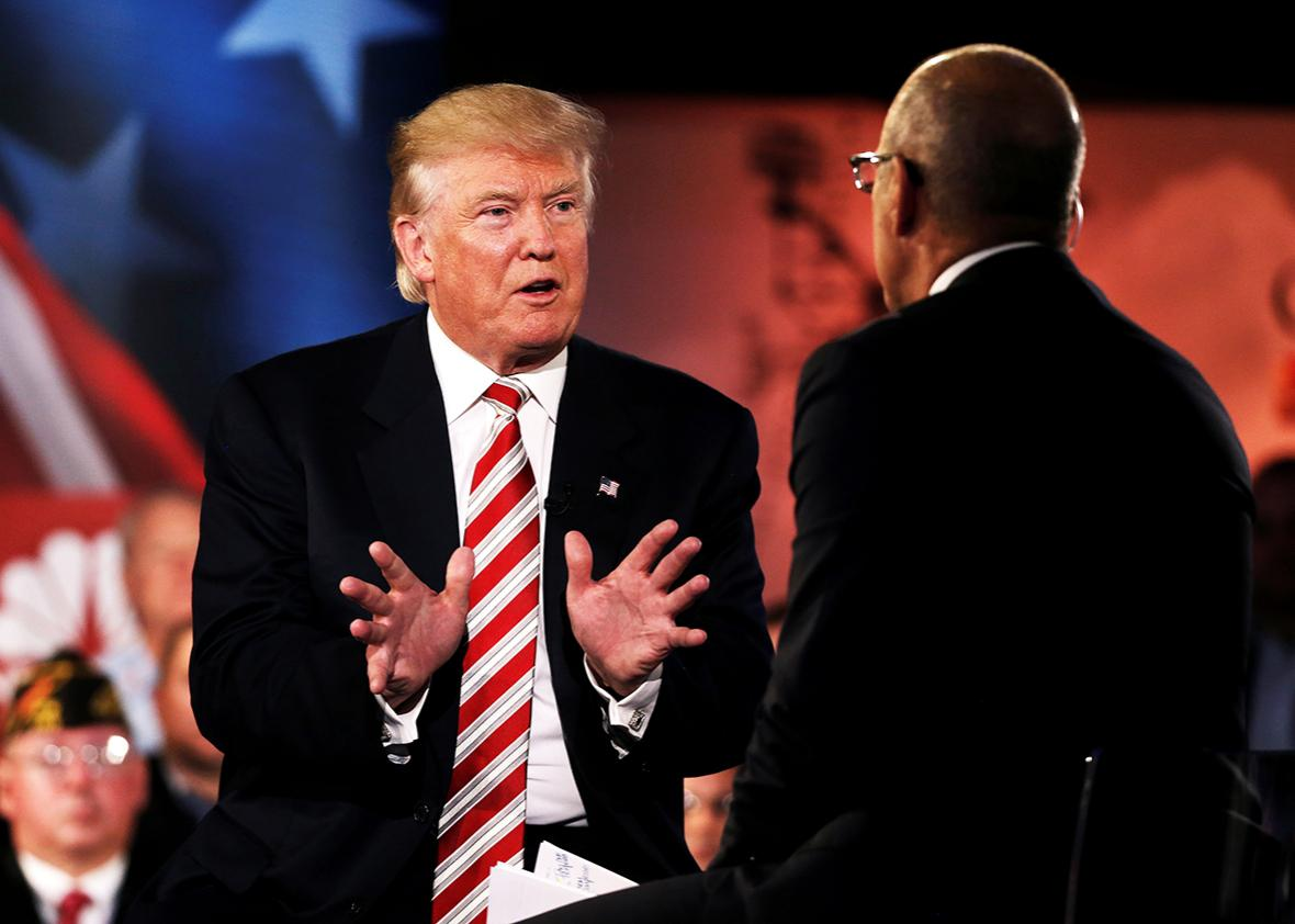 Republican presidential nominee Donald Trump speaks to Matt Lauer during the Commander in Chief Forum in Manhattan, New York, U.S., September 7, 2016.