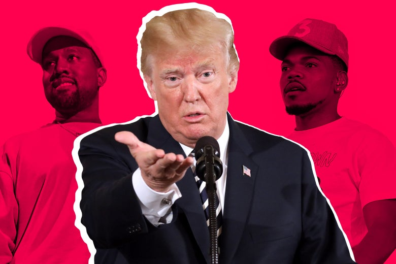 A photo collage of Kanye West, Donald Trump, and Chance the Rapper.
