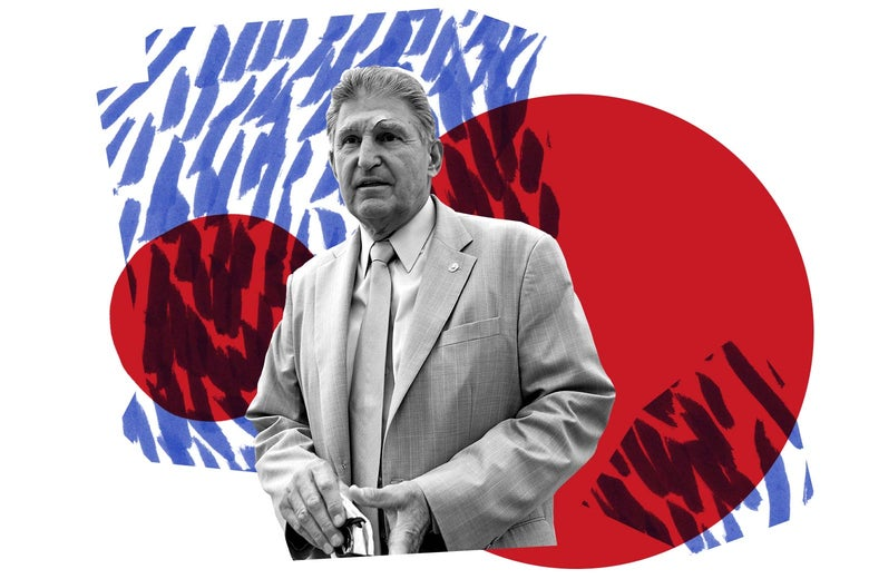 Joe Manchin is seen in front of red circles and blue lines.