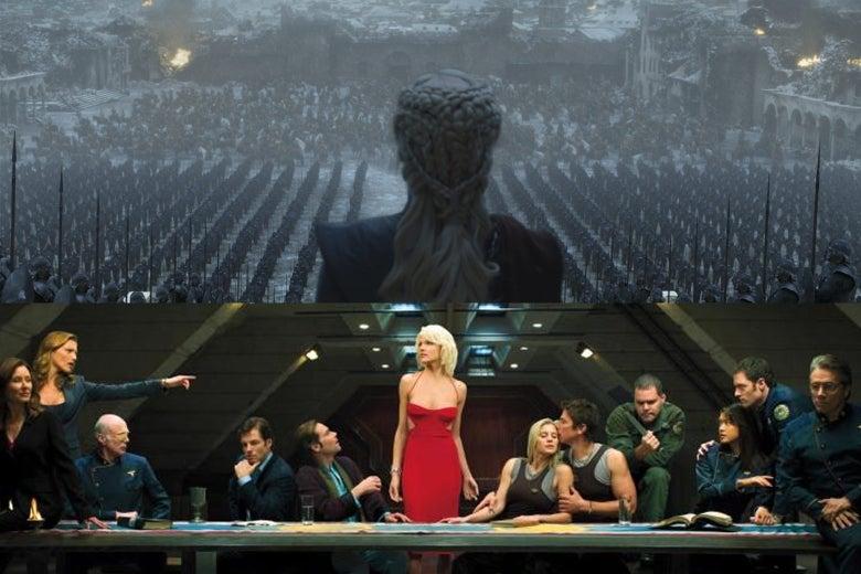 Top: Daenerys Targaryen in Game of Thrones. Bottom: the cast of Battlestar Galactica.