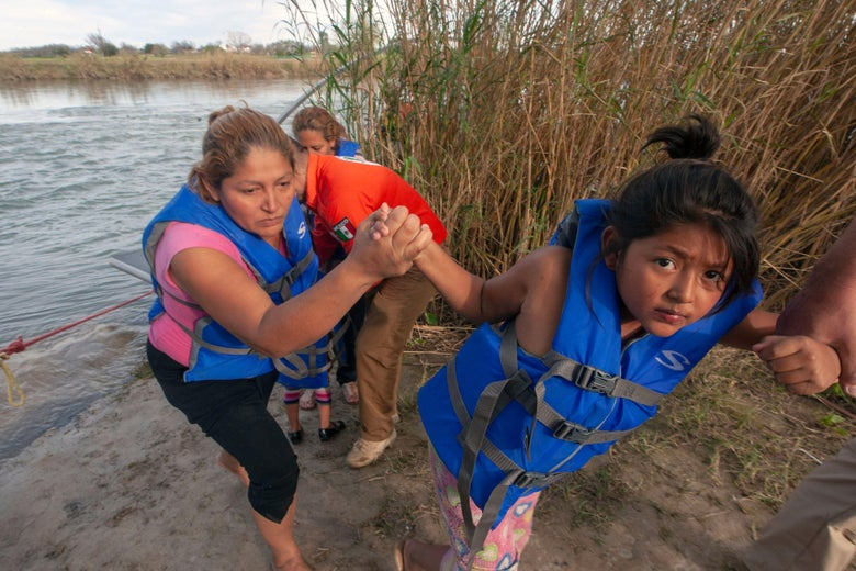 Central American migrants are rescued by members of the Beta group of the National Mexican Institute of Migration, dedicated to the protection and defense of the human rights of migrants, as they were trying to cross the Rio Bravo, which divides the cities of Eagle Pass, Texas and Piedras Negras, in Coahuila state, Mexico, on February 15, 2019.