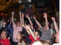 U.S. fans celebrating their team's win at Nathan Hale's in Manhattan early this morning