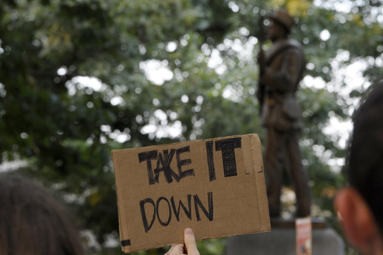 Confederate Monument Silent Sam Pulled Down by Protesters in Chapel Hill