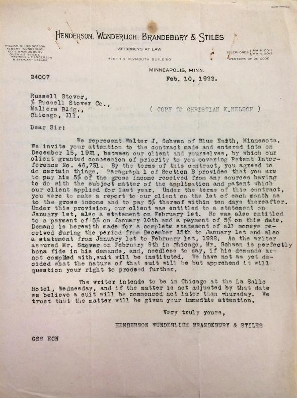 Letter regarding Walter Schwen's dispute over inventorship, Feb.