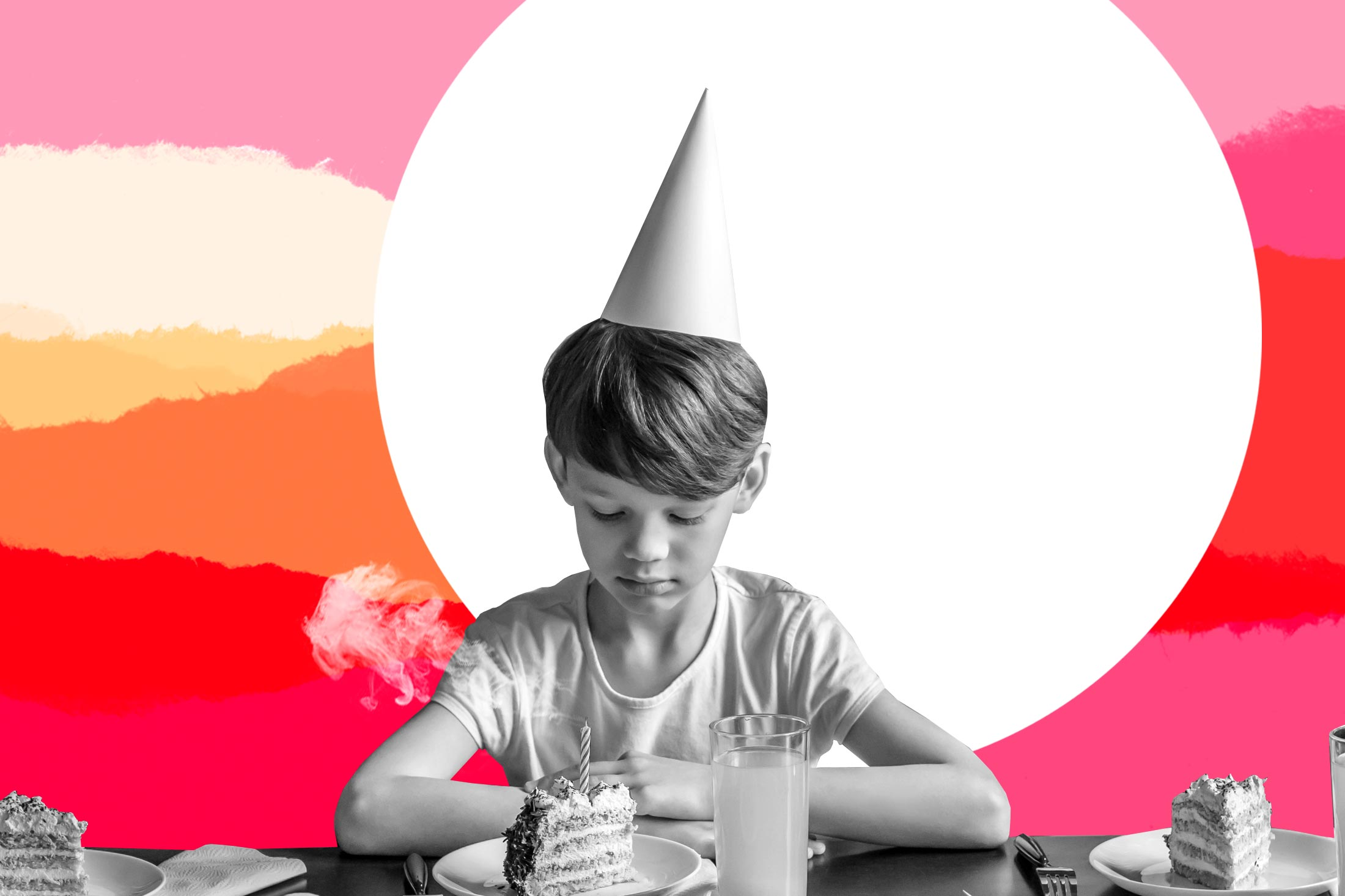 Photo illustration of a boy looking solemnly at a slice of birthday cake.