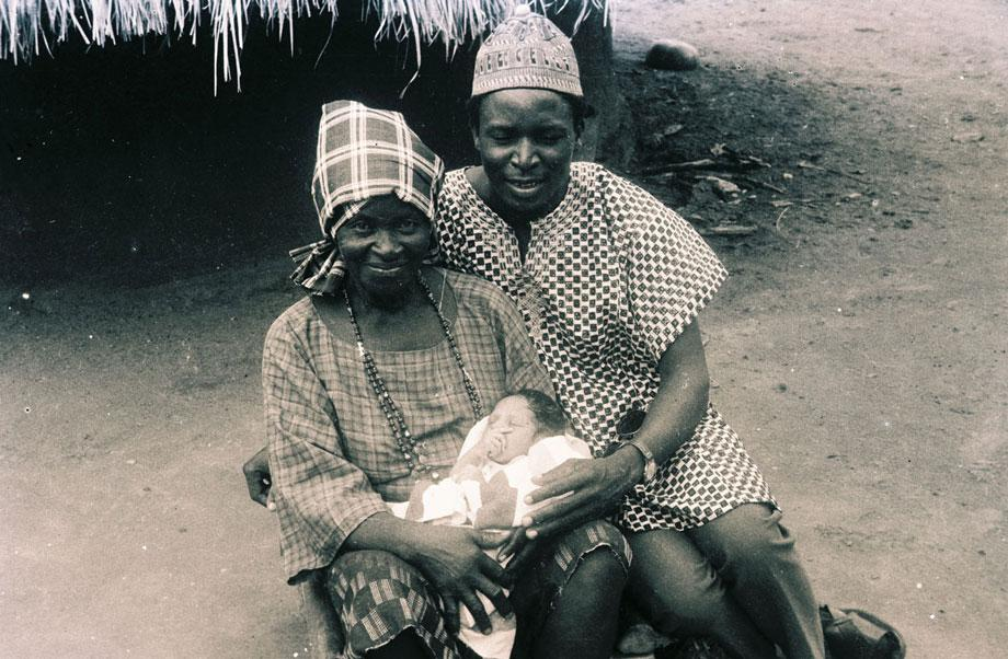 My grandmother, born in Nigeria around the turn of the century, never spoke a word of English. Here, she holds my parents first-born, and the joy is all over their faces. Although we were never close to her, because of the language barrier, she doted on us as any grandmother would, and this picture was just the start of that.