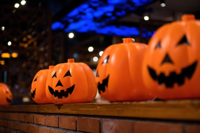 Plastic pumpkin Halloween lanterns