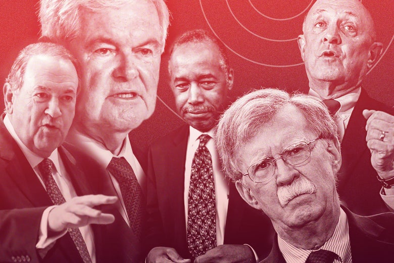 Photo illustration of Mike Huckabee, Newt Gingrich, Ben Carson, John Bolton, and James Woolsey with an overlay of a radar detection system.