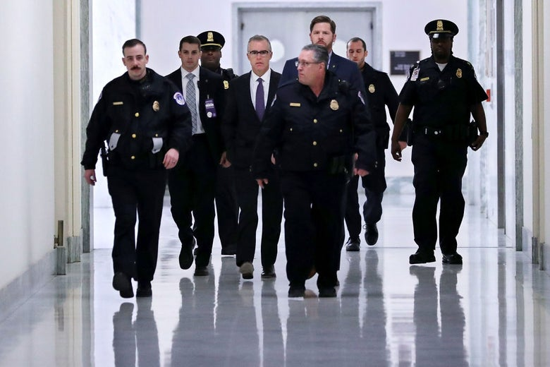 Andrew McCabe in a hallway on Capitol Hill on Dec. 21, 2017.