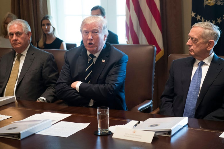 US President Donald Trump speaks (C) alongside Secretary of State Rex Tillerson (2L) and Secretary of Defense James Mattis during a Cabinet Meeting in the Cabinet Room of the White House in Washington, DC, October 16, 2017. / AFP PHOTO / SAUL LOEB        (Photo credit should read SAUL LOEB/AFP/Getty Images)