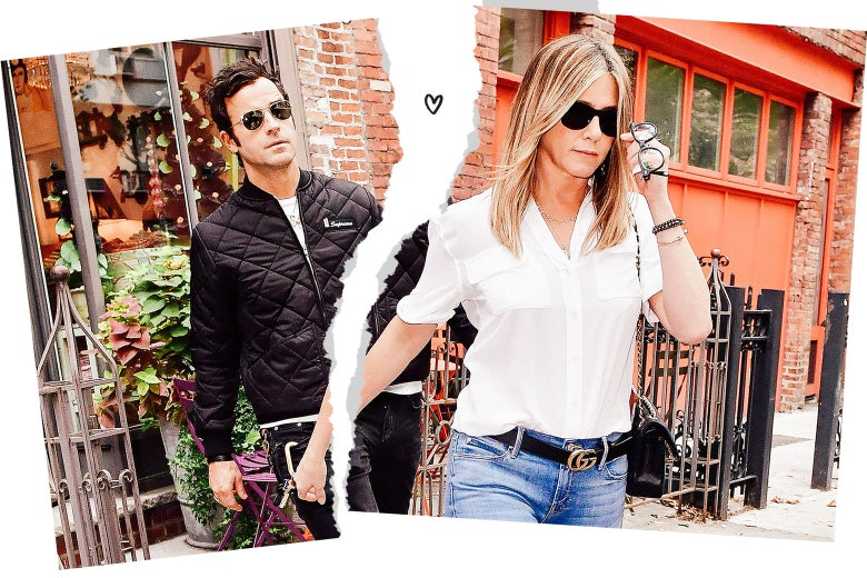 Torn photograph of Jennifer Aniston and Justin Theroux.