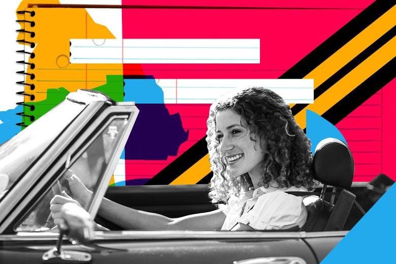 A happy woman driving a car.