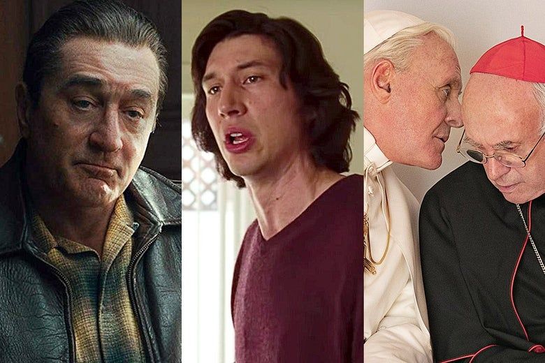 Robert De Niro in The Irishman, Adam Driver in Marriage Story, and Jonathan Pryce and Anthony Hopkins in The Two Popes.