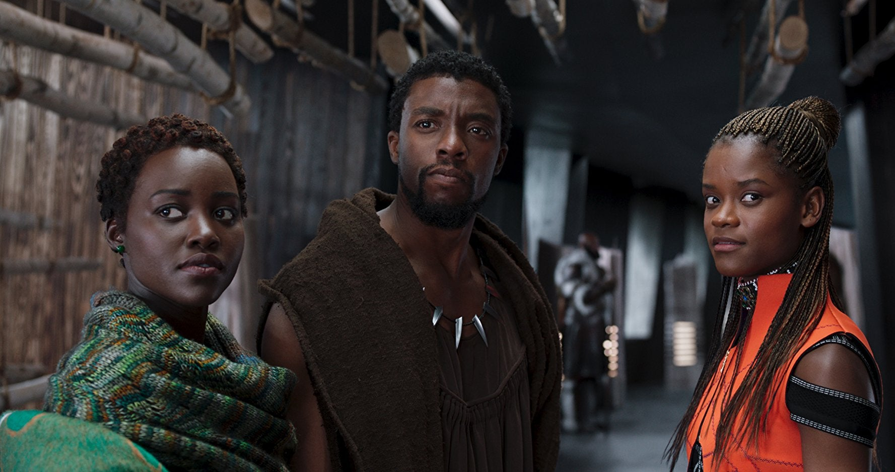 Lupita Nyong'o, Chadwick Boseman, and Letitia Wright in Black Panther