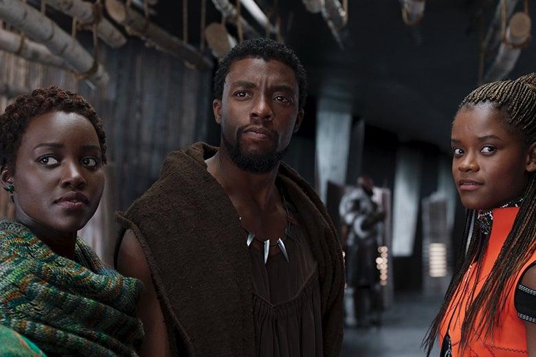 Lupita Nyong'o, Chadwick Boseman, and Letitia Wright in Black Panther