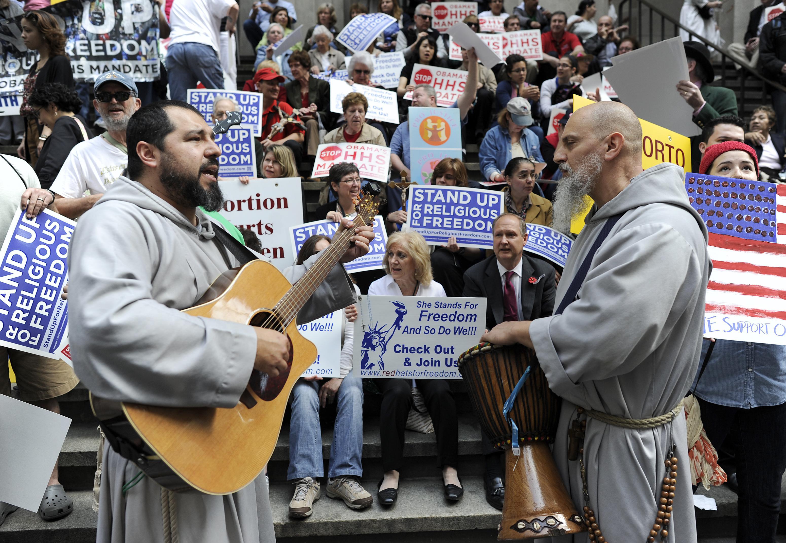 Anti-contraception protesters.