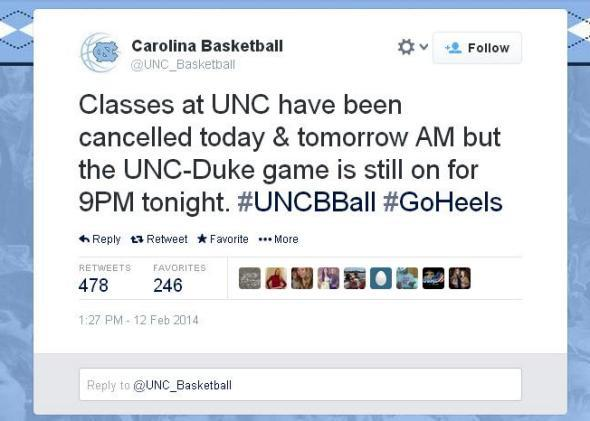 UNC basketball tweet