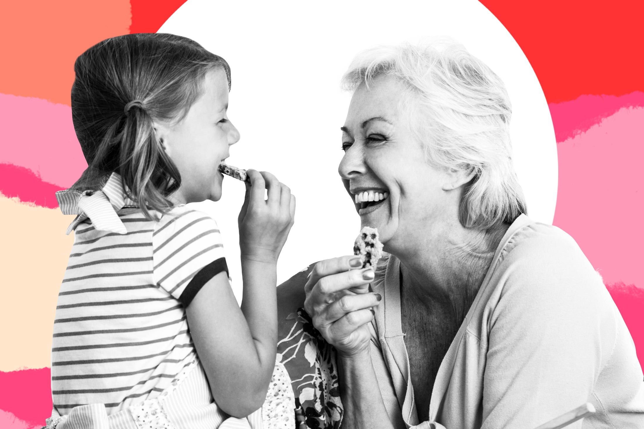 Photo illustration showing a toddler eating a cookie while a grandmother figure eats a cookie and grins at her.