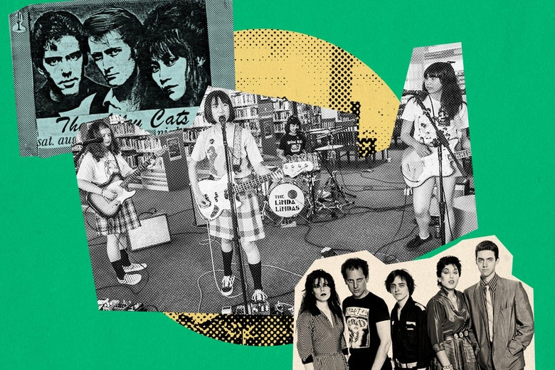 A collage featuring the Linda Lindas and other L.A. punk bands.