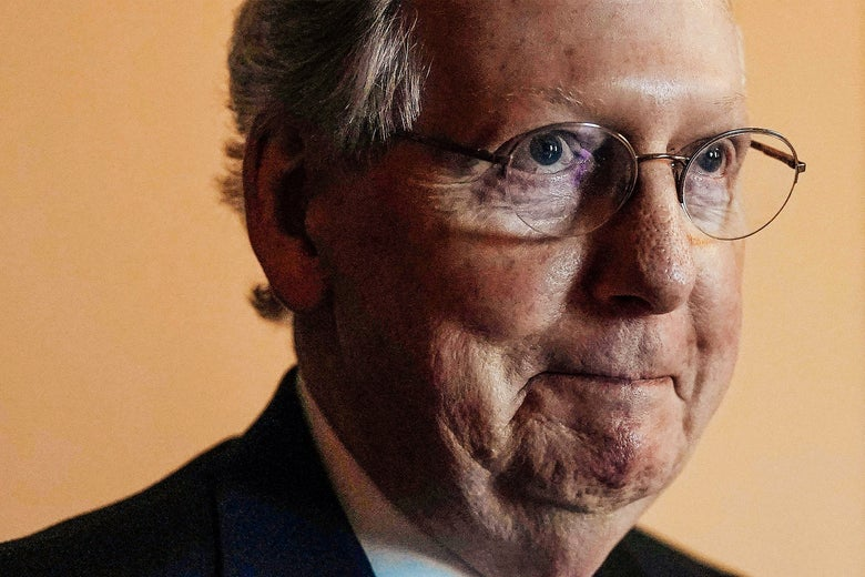 Alex Wong/Getty Images A close-up of Mitch McConnell.